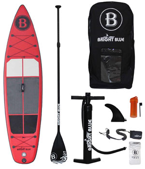 bright blue inflatable sup board